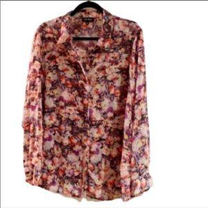 1X- Floral Chiffon blouse...like New!!!
